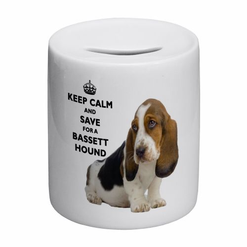 Keep Calm And Save For A Bassett Hound Novelty Ceramic Money Box